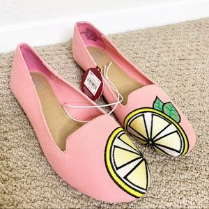 SO Canvas Lemon Ballet Flats Pink Size 8